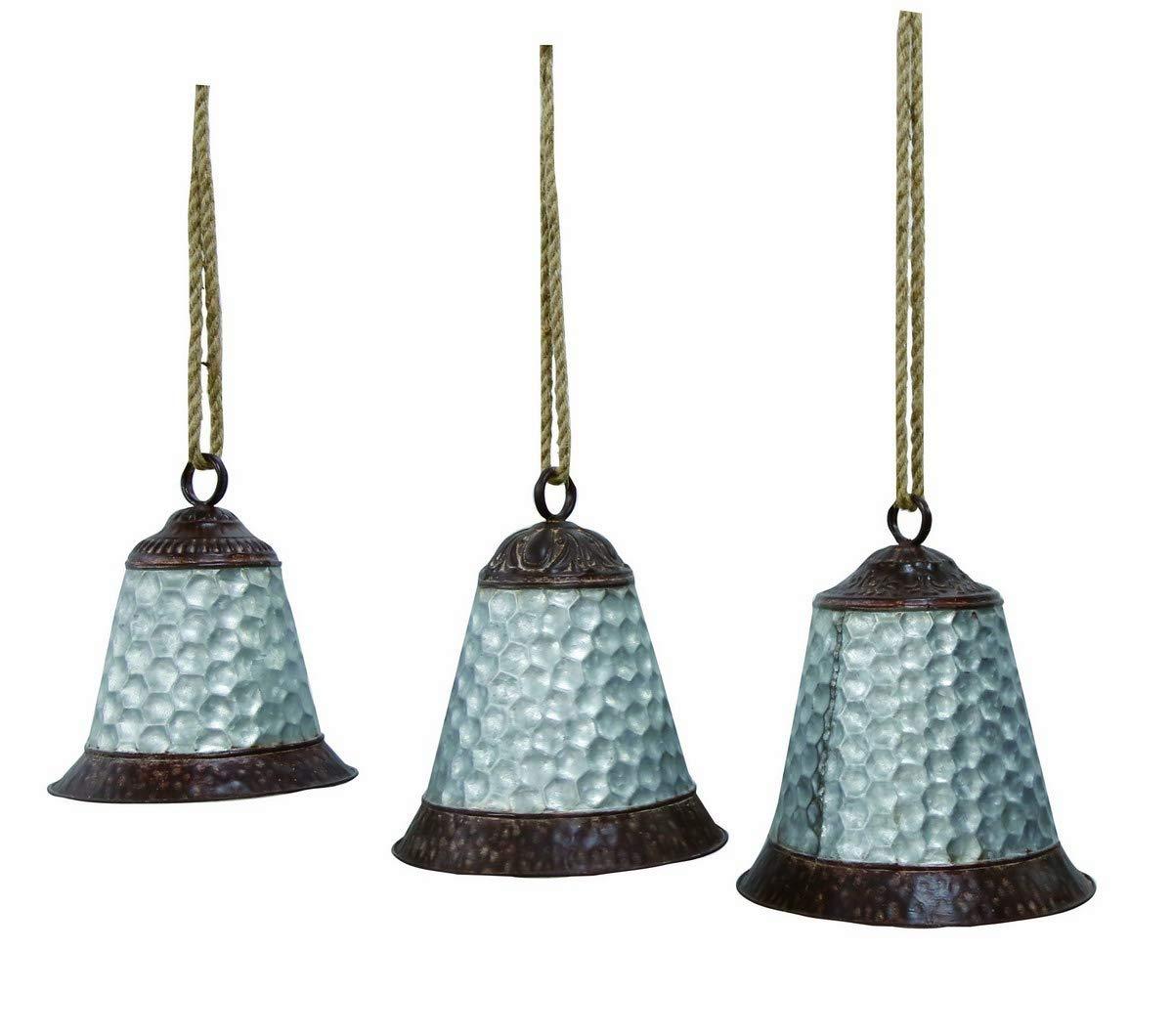 Transpac Metal Silver Christmas Honeycomb Bell Hangings Set of 3