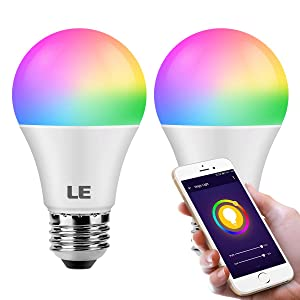 LE WiFi Smart Light Bulbs, Work with Alexa, Google Assistant, IFTTT, RGBCW and CCT (2700-6500K Tunable White), Timer Schedule, Color Changing, Dimmable A19 E26 LED Bulb, No Hub Required, Pack of 2