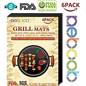 NETCAT -Grill Mat- 100% Non-stick BBQ Grill & Baking Mats - FDA-Approved, PFOA Free, Reusable and Easy to Clean - Works on Gas, Charcoal, Electric Grill and More (6 PACK Black)
