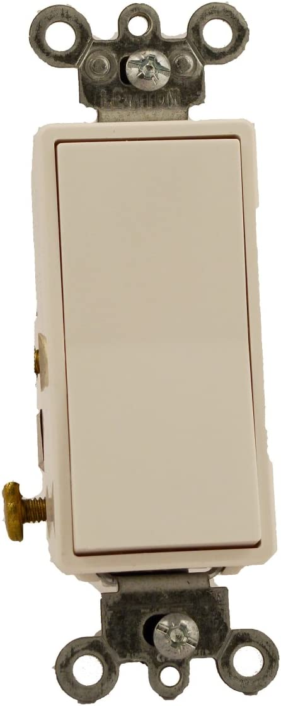 Leviton 5614-2W 15 Amp, 120/277 Volt, Decora Rocker Lighted Handle, Illuminated Off 4-Way AC Quiet Switch, Residential Grade, Grounding, White