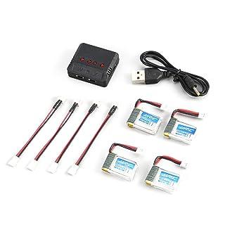 LoveOlvidoIT Caricabatteria USB Originale JJR / C 4Pcs 3.7v 150mAh Lipo per H36 Goolrc T36 Eachine E010 E011 E012 NH 010 RC Mini Quadcopter