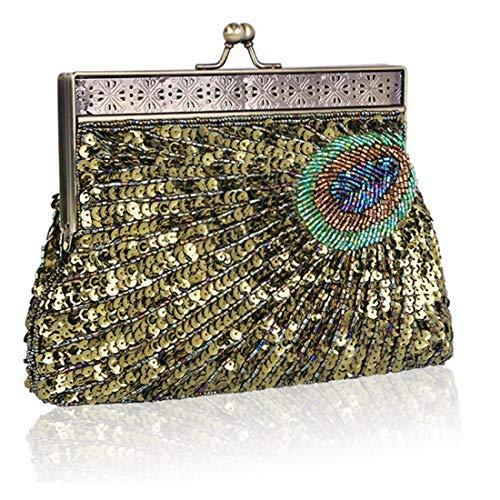 de Pavo Las Las del Embrague Gold Color Moldeado Real de Bolso del de Lentejuelas Noche Mujeres Bolso Gold del YY1 5qZzx7wZS