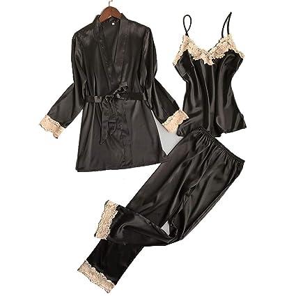 HUIFANG Conjunto De Pijamas Sexy para Mujer Seda De Hielo Pechos Pequeños Tres Piezas Otoño/