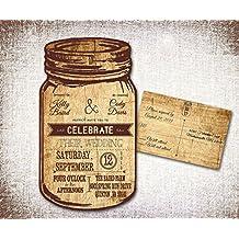 Mason Jar Wedding Invitations/ Rustic Wedding Invitations/ Country Wedding Invitations/ Western wedding invitations/personalized wedding invitations