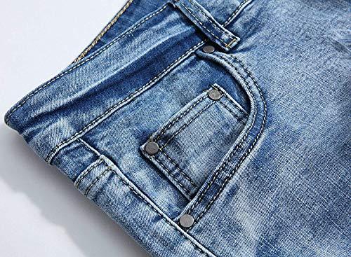 Hombres Los Corte Recto De Battercake Azul Baja Vaqueros Mezclilla Cómodo Pantalones Cintura q8YInwt7