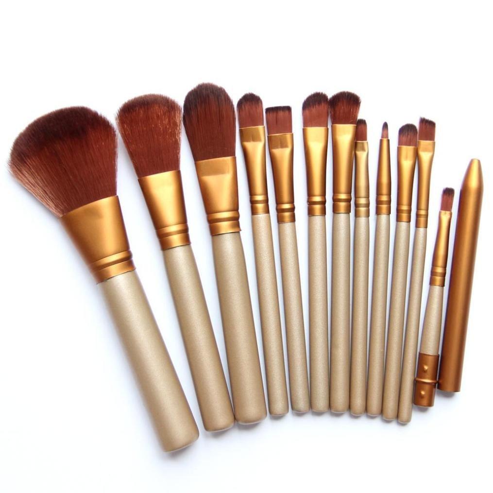 Vi.yo 12 Pcs Ensemble de Brosses Makeup Premium Cosmetics Foundation Blush Kit de Brosse à Poudre(Or)