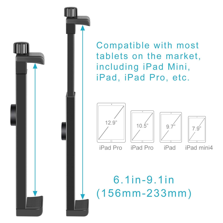 Neewer iPad Tablet Tripod Mount Adapter Holder 6.3-9.25 inches//16-23.5 centimeters Adjustable Clamp for iPad Mini iPad 2//3//4 iPad Air//Air2 iPad Pro Microsoft Surface Samsung Tab 7.0 Series