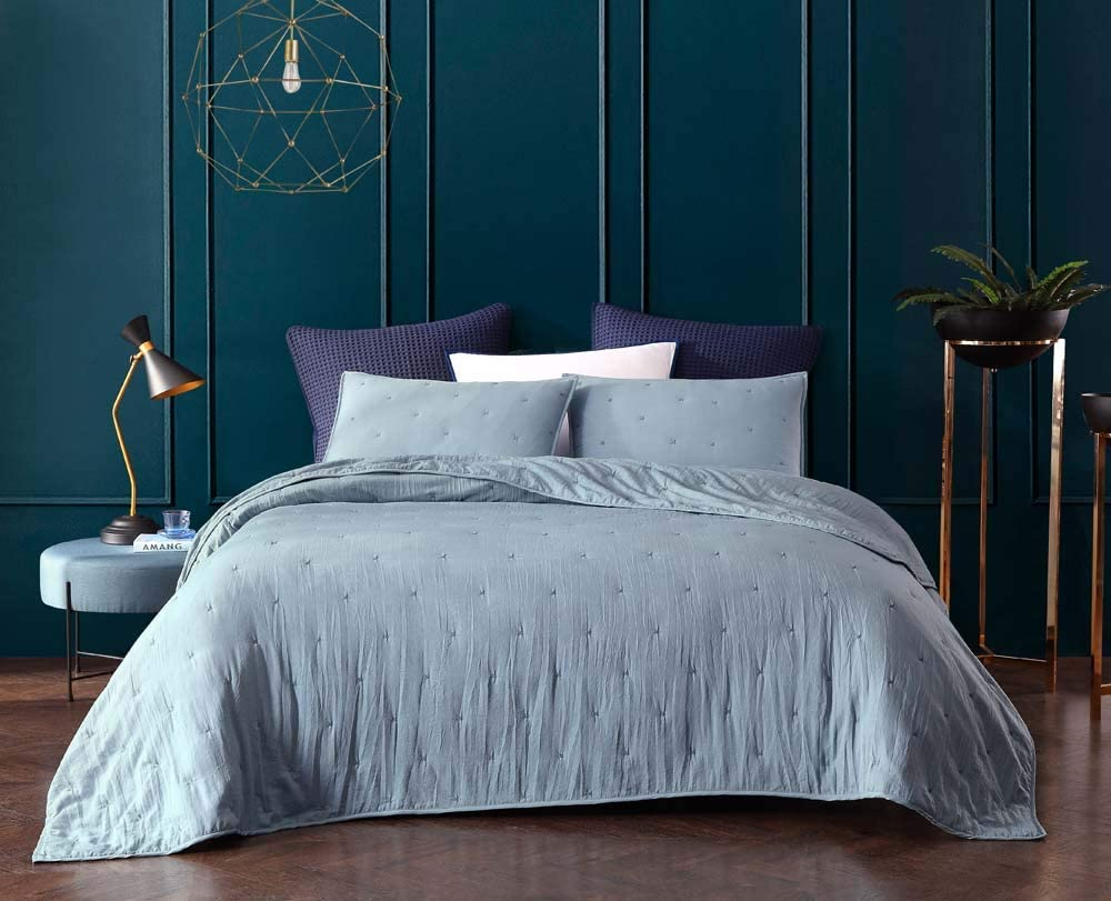 Aqua Bourina Reversible 3-Piece Full Quilt Set Pre-Washed Microfiber Ultra Soft Lightweight Star Quilted Bedspread Full Coverlet Set
