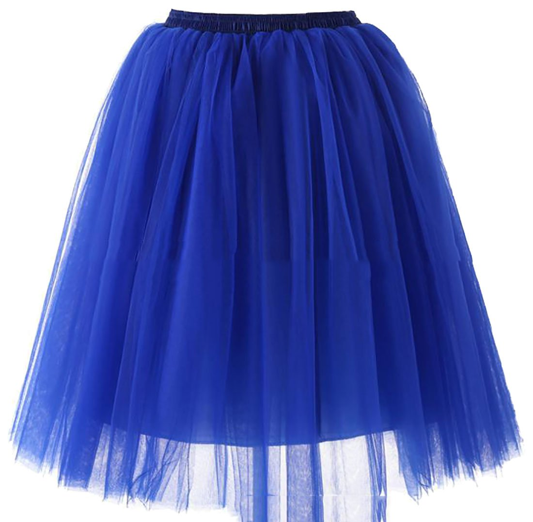 Cruiize Women's Vintage Elastic Waist Wedding Mesh Swing Ruched Skirts Jewelry Blue XL