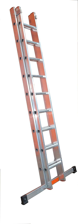 LFI TuFF - Escalera industrial de doble sección 9 peldaños (2,5 m): Amazon.es: Bricolaje y herramientas