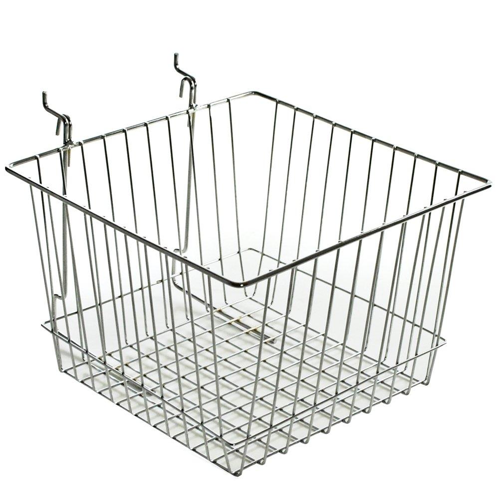 Azar Displays 300622-2pack Wire Basket, Chrome