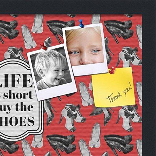 PinPix custom printed pin cork bulletin board made from canvas, Buy The Shoes 18x12 Inches (Completed Size) and framed in Satin Black (PinPix-Group-55) by PinPix (Image #2)