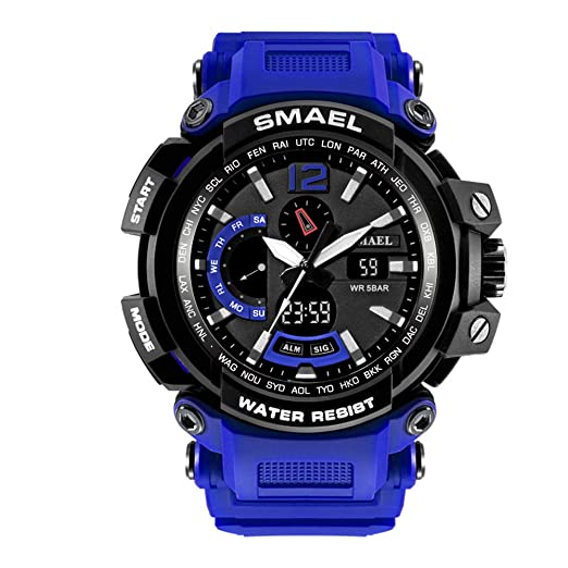 Led reloj digital Men Big Face reloj deportivo para hombres reloj analógico Quartz Resin Band reloj de pulsera Tan: Amazon.es: Relojes