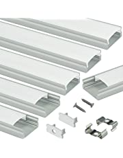Muzata 6-Pack 3.3ft/1Meter 9x17mm U Shape LED Aluminum Channel System with Cover, End Caps and Mounting Clips Aluminum Profile for LED Strip Light Installations Diffuser Video U1SW,Series LU1