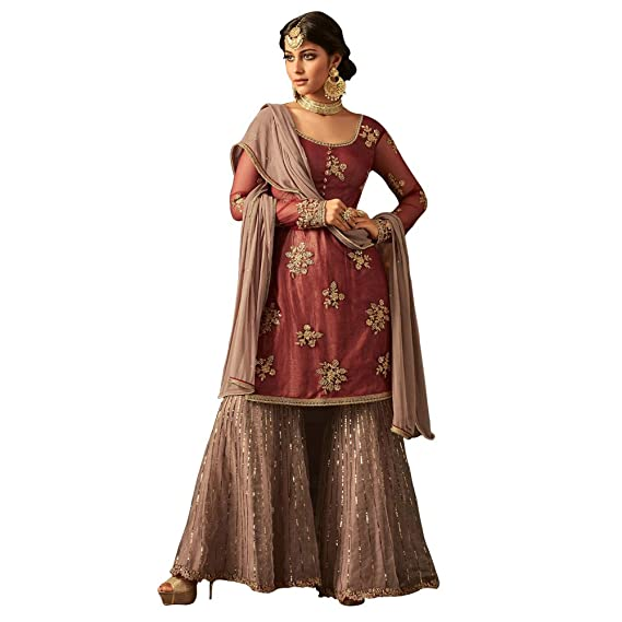 b16efbdb61 Likeadiva Women s Net Floral Embroidered Sharara Suit (Maisha-5801 ...
