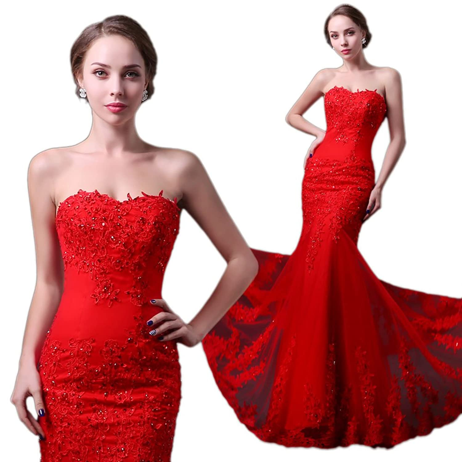 Vimans Women's Long Red Sweetheart Beaded Lace Mermaid Evening Party Dresses