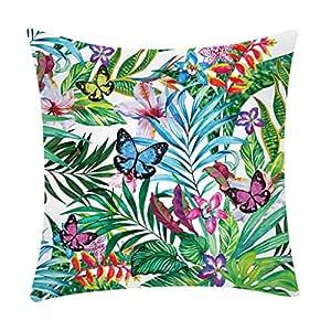 K-youth Funda Cojines 45x45 Tropical Planta Floral 40x40 ...