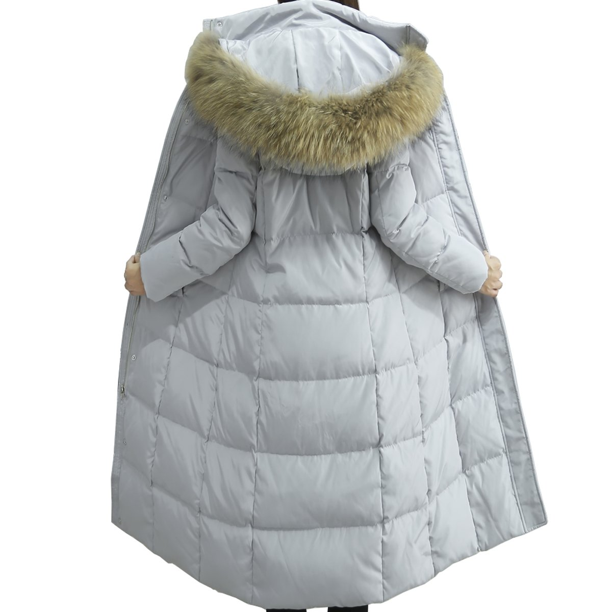 f5e5193c1fe Oangel Womens Winter Warm Thick Long Down Puffer Coat Parka with Fur Hood  (M