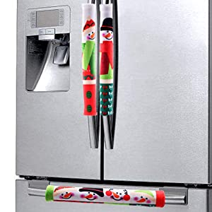 Christmas Appliance Handle Covers Refrigerator 3PCS Kitchen Fridge Door Microwave Oven Handle Cover Xmas with Snowman for Xmas Holiday Home Decoration Decors