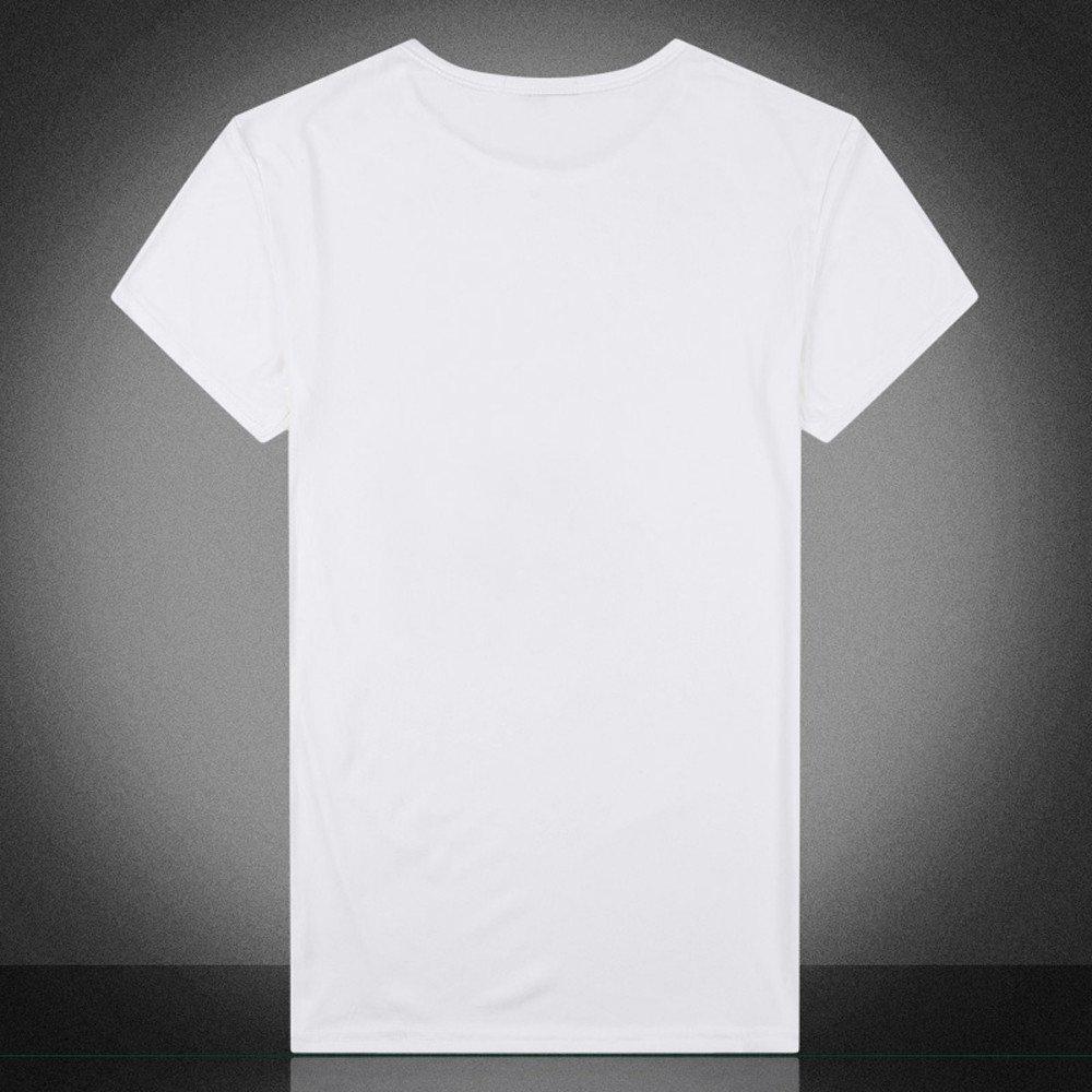 Celucke Wei/ße T-Shirt Herren Rundhals Tee Regular Fit aus Bio-Baumwolle mit Coole Print Longshirt M/änner Kurzarmshirt Stretch Basic Kurzarm Tops L/ässige Moderne O-Neck Short Sleeve