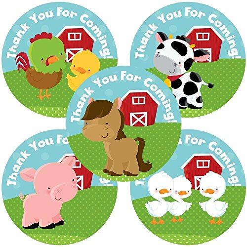 Barnyard Baby Shower (Farm Animals Thank You Sticker Labels - Boys Girls Birthday Baby Shower Party Supplies - Set of 50)