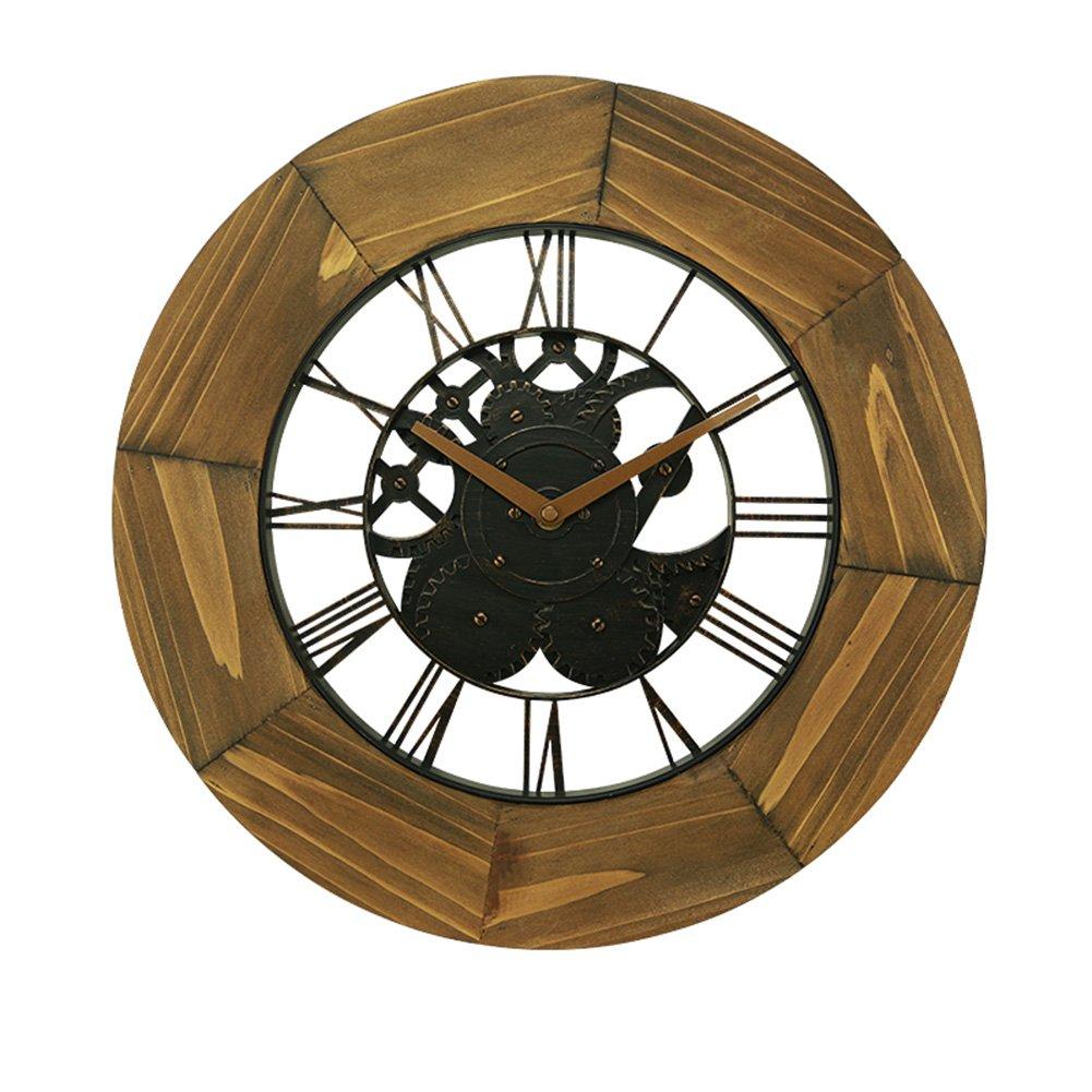 ZWD ソリッドウッドの壁時計、リビングルームのベッドルームレストランバーウォールクロックフラワーショップコーヒーショップウォールクロック直径40.5CM 飾る (色 : B) B07FN91B4P B B