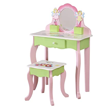 timeless design e1c12 40dff WODENY Childrens Vanity Table Set | Girls Dresser Table | Childs Dressing  Table Chair | Kids Vanity Table with Mirror and Stool, Wooden Fashion  Makeup ...