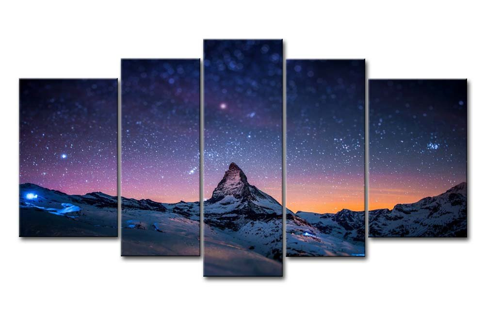 Fresh Look Color 5 Piece Wall Art Painting Starry Night Sky Over The Mountains Prints On Canvas The Picture Landscape Pictures Oil For Home Modern Decoration Print Decor For Living Room by So Crazy Art