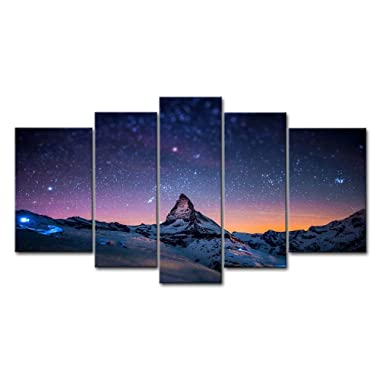Fresh Look Color 5 Piece Wall Art Painting Starry Night Sky Over The Mountains Prints On Canvas The Picture Landscape Pictures Oil For Home Modern Decoration Print Decor For Living Room