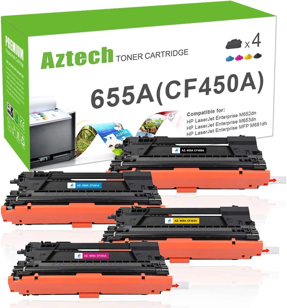 Aztech Compatible Toner Cartridge Replacement for HP 655A CF450A CF451A CF452A CF453A (Black Cyan Yellow Magenta, 4-Packs)