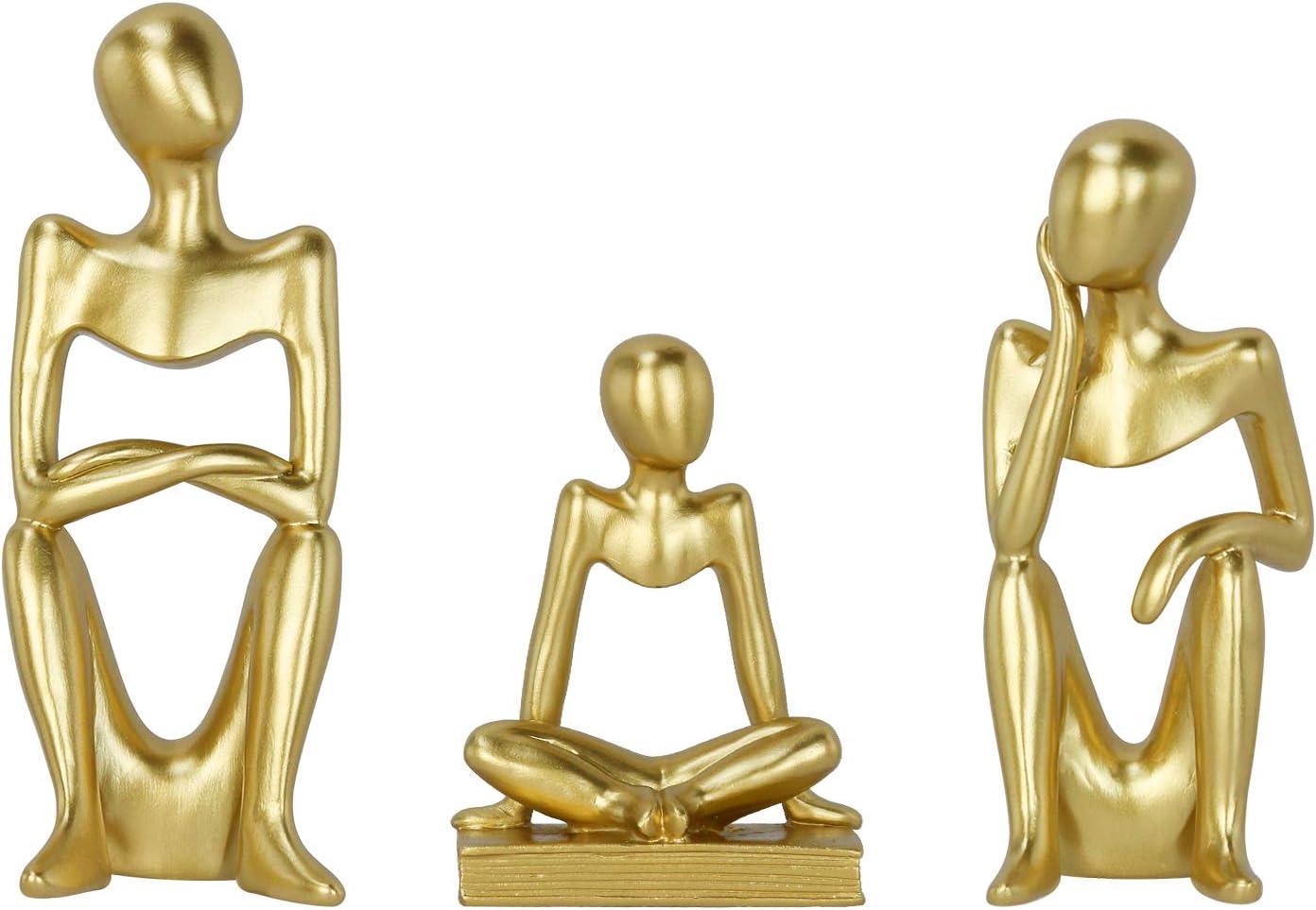 Creproly Resin Sculpture Art Small Sculpture Gold Abstract Statue Figurine Kit Home Office Desktop Bookshelf Decor 3Pcs (Family)
