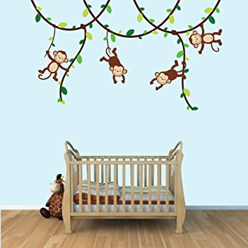 Green and brown monkey wall decal for baby nursery or kids room fabric vine decal