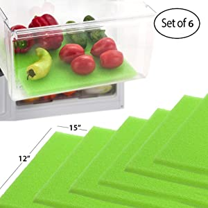 Dualplex Fruit & Veggie Life Extender Liner for Fridge Refrigerator Drawers (6 Pack) – Extends The Life of Your Produce & Prevents Spoilage, 12X15 Inches