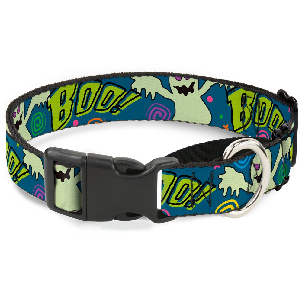 1\ Buckle-Down Ghost Boo  bluee Multi color Martingale Dog Collar, 1  Wide-Fits 9-15  Neck-Small