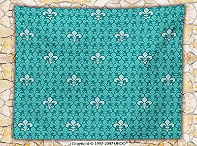 Turquoise Decor Fleece Throw Blanket Fleur De Lis Pattern Ancient Lily Ornate Medieval Interior Monochromic Art Throw