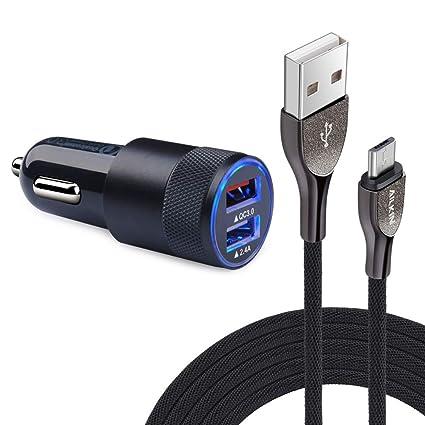 Amazon.com: Cargador de coche dual USB 3.0 + cable micro USB ...