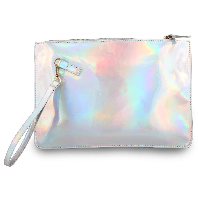 Fashion Women's Holographic Leather Clutch Bag Purse Simple Fashion Laser Envelope Evening Wristlet Handbag , portable waterproof Fashion Focus Cosmetic bag,Shining Evening Bag, Wedding Party