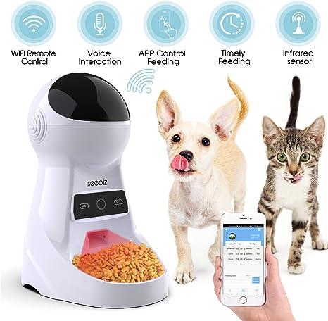 Iseebiz Comedero Automático Gatos/Perros Dispensador de Comida ...