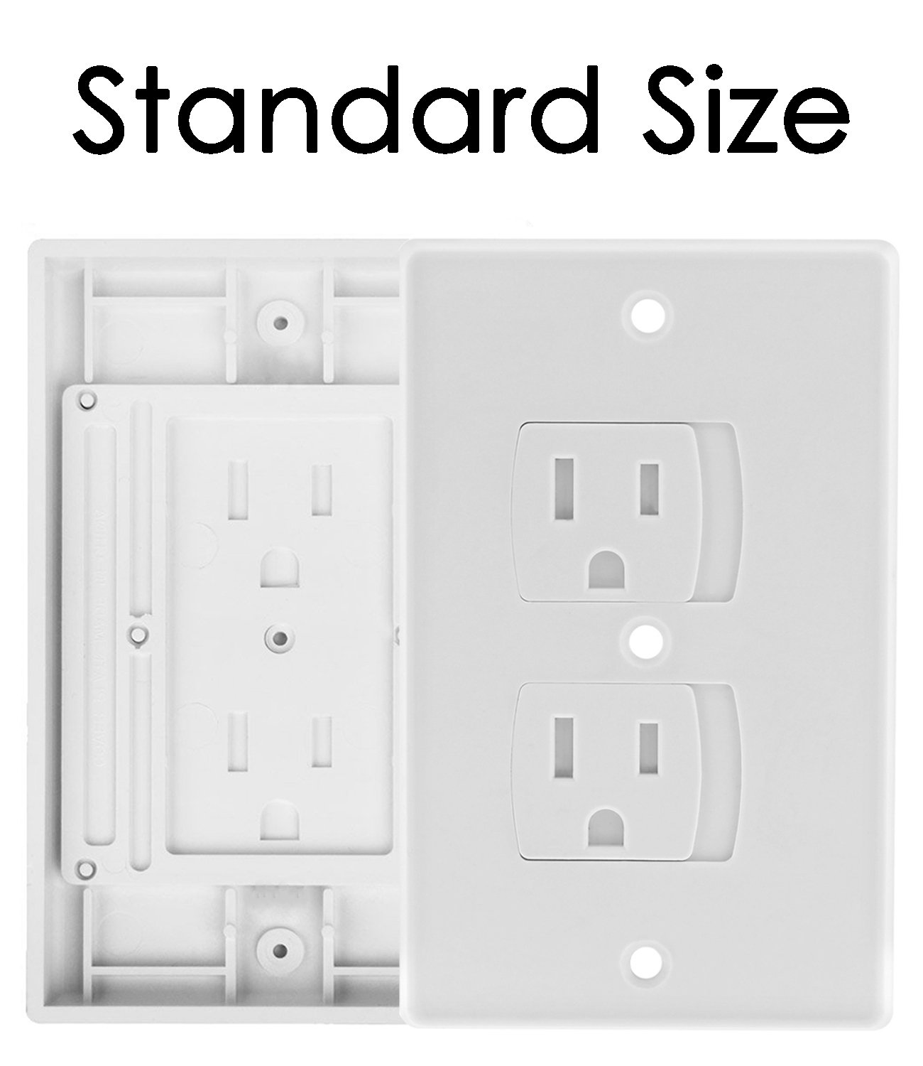 Self Closing Electrical Outlet Covers, Child Proof Safety Universal Wall Socket Plugs, Automatic Sliding Cap Cover Standard Wall Outlet Plate (8 Pack) by Baby Dröm (Image #3)
