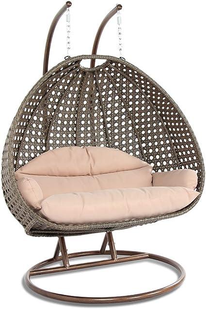 Amazon Com Leisuremod Beige Wicker Hanging Swing Egg Chairs Patio Indoor Outdoor Use Lounge Chair Beige Kitchen Dining