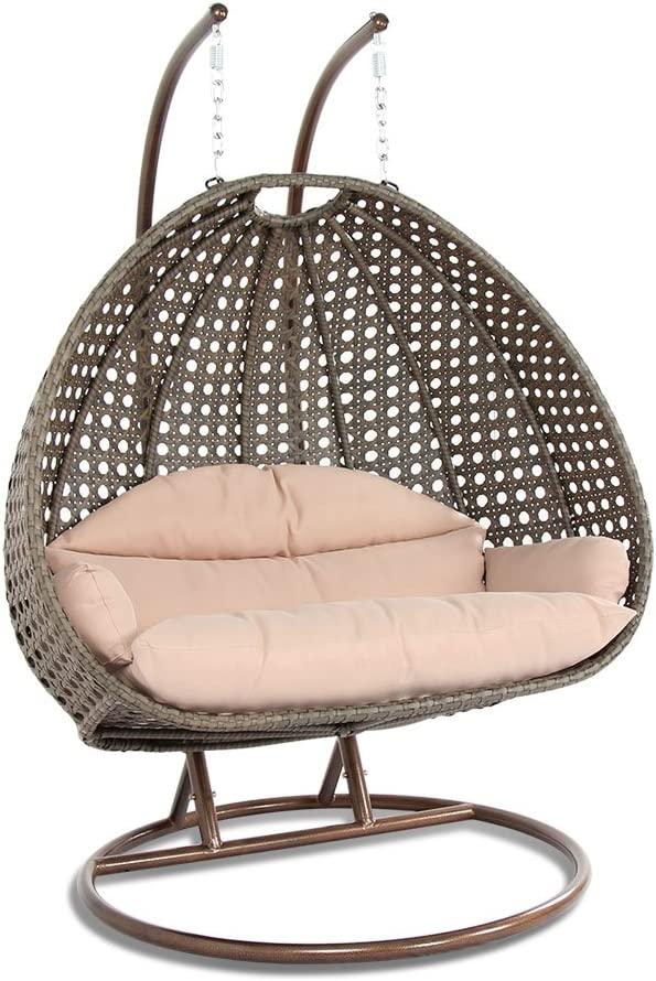 zsjhtc Wicker Rattan Swing Chair,Modern Indoor Outdoor Large Capacity Hanging Hammock Rocker Chair with Cushion and Stand Grey