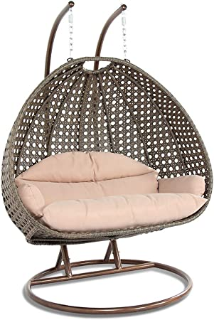 Amazon Com Leisuremod Wicker 2 Person Double Hanging Swing Egg Chairs Patio Indoor Outdoor Use Lounge Chair Beige Kitchen Dining