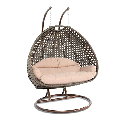 Delicieux Island Gale Luxury 2 Person Wicker Swing Chair With Stand And Cushion Outdoor  Porch Furniture Max