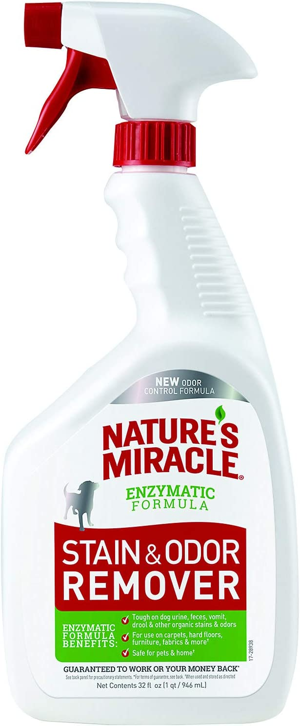 Nature's Miracle Stain and Odor Remover Dog Odor Control Formula, Spray, Enzymatic Formula for Urine, Feces, Vomit, Drool and other Dog Stains
