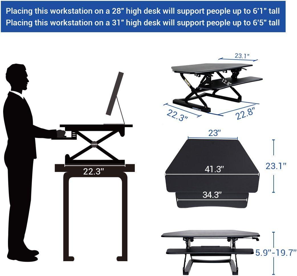 FlexiSpot 41 Standing Desk Converter with Quick Release Keyboard Tray Computer Desk,Black M4B