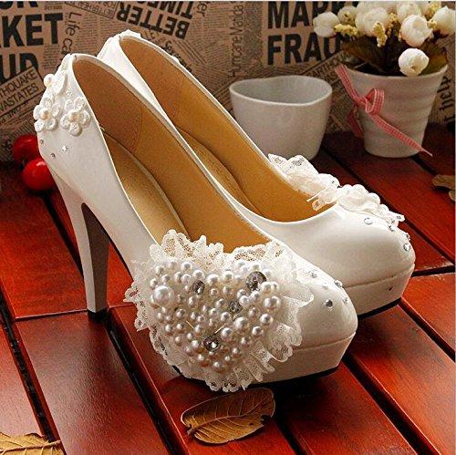 JINGXINSTORE Prinzessin Weiß Love Love Love Bead Floral Braut Hochzeit Schuh High Heel B0768D8XGY Tanzschuhe Eleganter Stil 8098d2