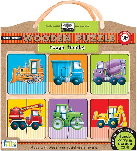 Green Start Wooden Puzzles - Innovative Kids Green Start Wooden Puzzles: Tough Trucks (18Mos+) Puzzle
