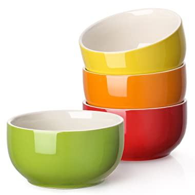 Lifver 12019 20-Ounce Porcelain Soup/Cereal Bowl Set-4 Packs, Assorted Colors, 20 oz