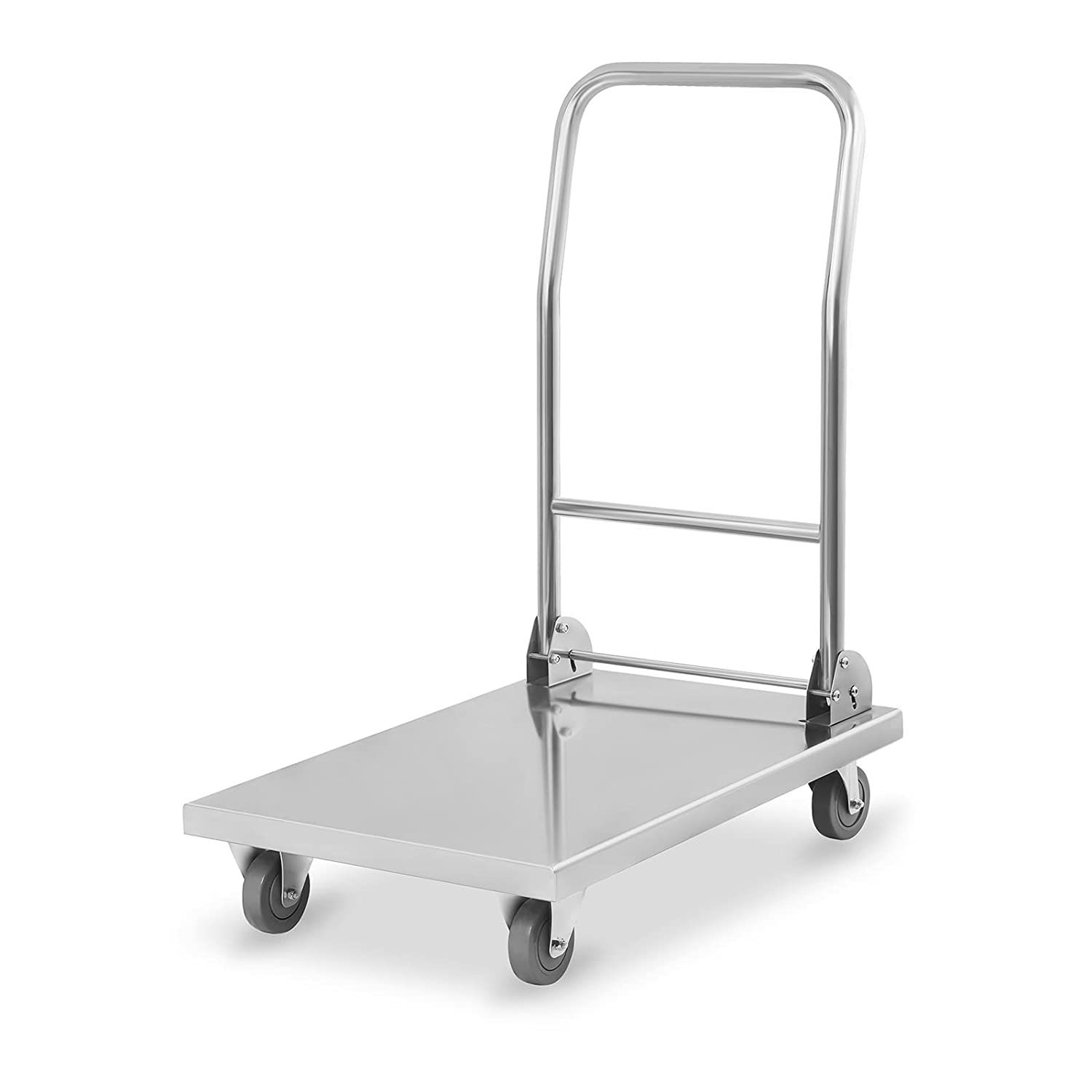 Royal Catering RCFT-1.1/ Platform Truck Folding Trolley Cart Stainless Steel 400 kg, Storage Surface 82 x 52 cm, Rubber Wheels