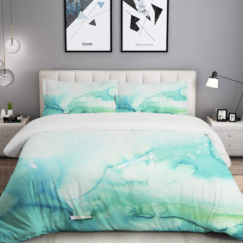BOKEKANG Teal Watercolour Watercolor Turquoise Mint Ombre Hand Blue Gradient Color Water Studio Single Apartment Decorate Bedding Set Custom Design 3 PC Duvet Cover Set with 2 Pillow sham